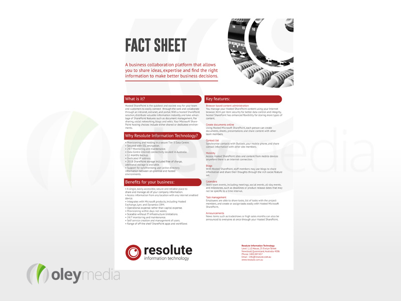 Resolute IT A4 Flyer Fact Sheet Design – Oley Media Group