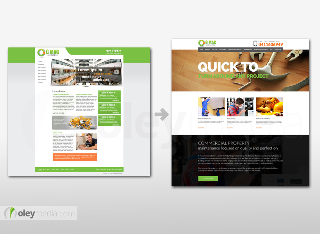 GMAC Constructions Website Design Makeover