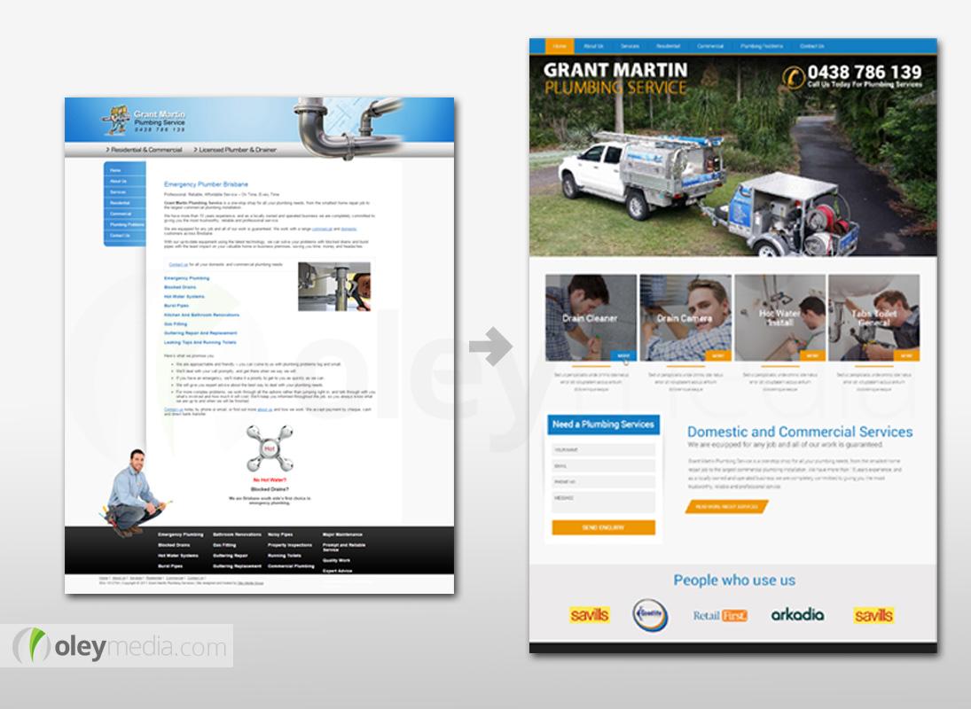 Website Design Makeover - Grant Martin Plumbing
