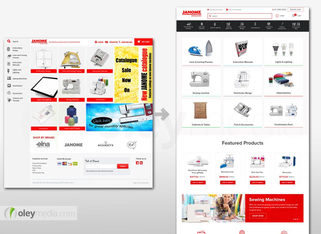 Website Design Makeover - Janome Sewing Centre