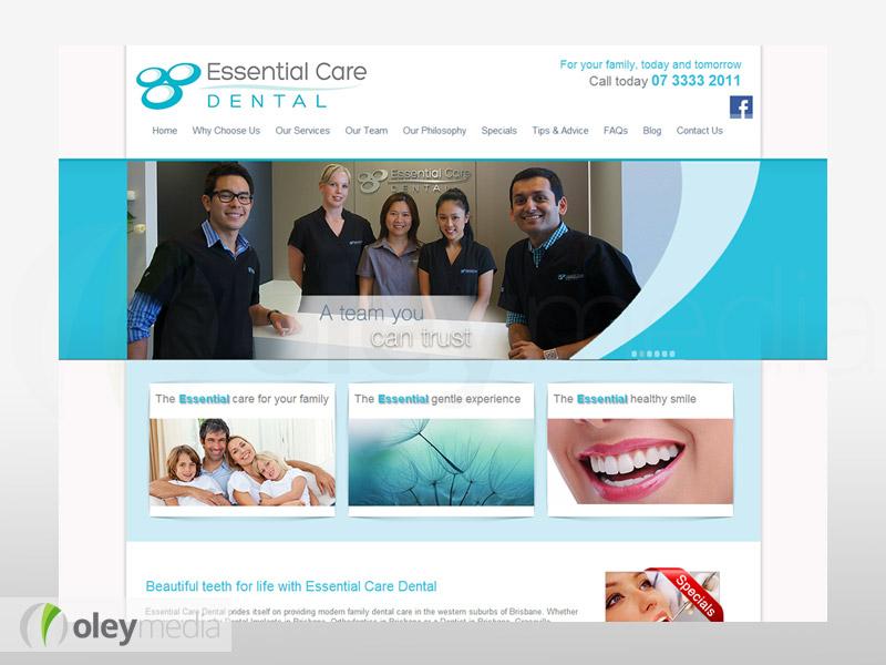 essential care dental website design