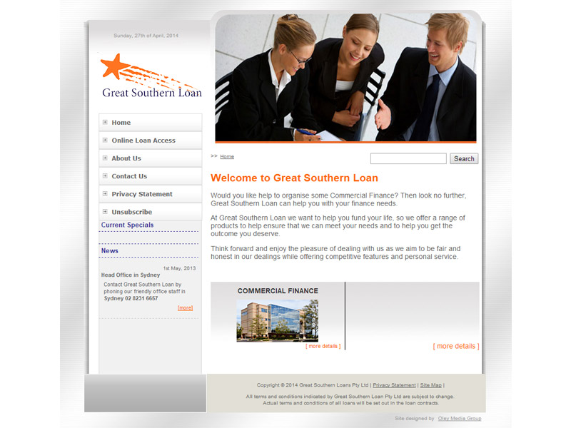 great southern loan website design