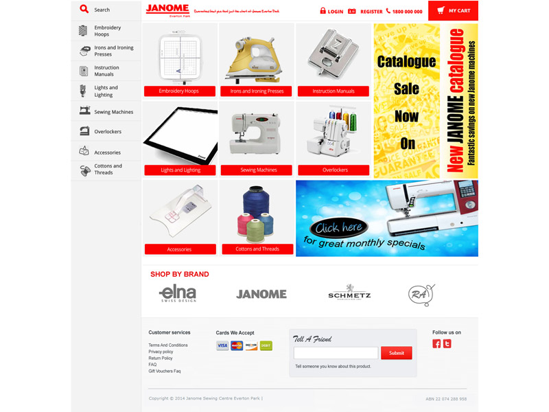 janome sewing centre website design