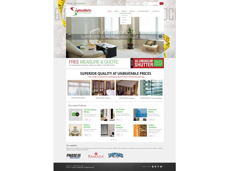 signature blinds website design