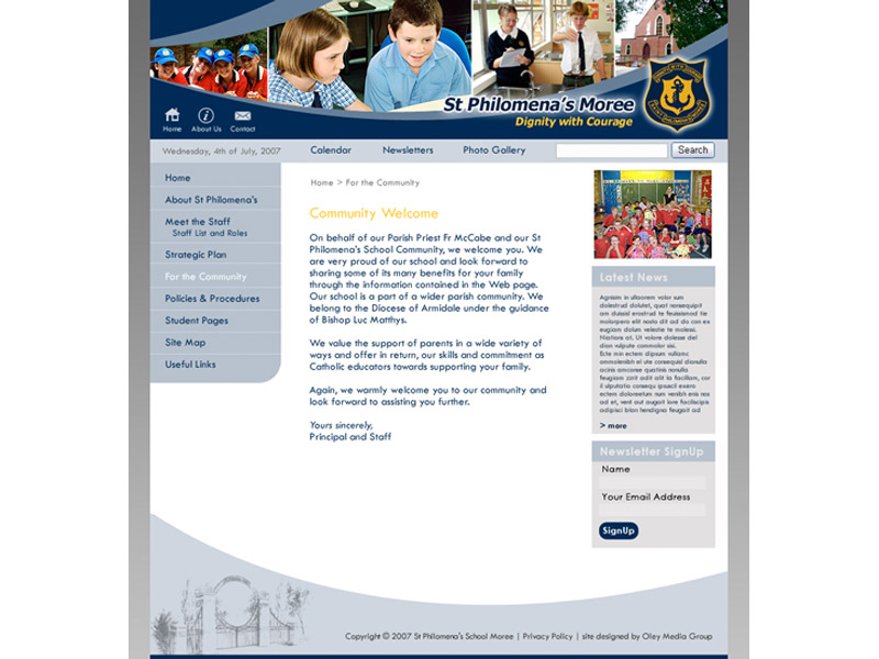 st philomenas website design