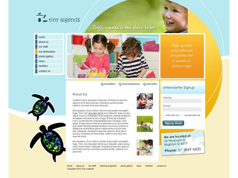tiny legends website design