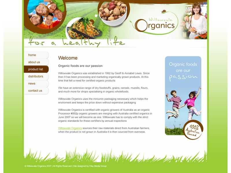 willowvale organics website design